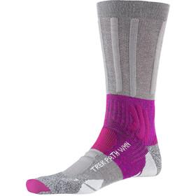 X-Socks Trek Path Calcetines Mujer, gris/rosa